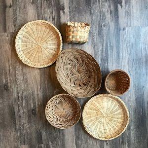6 Wicker Woven Wall Baskets